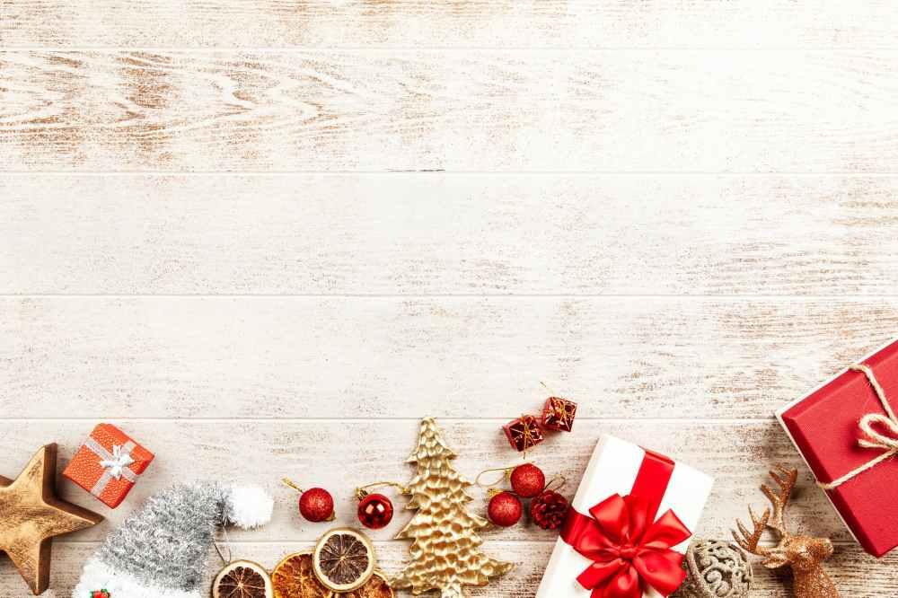 flatlay photography of gift and baubles